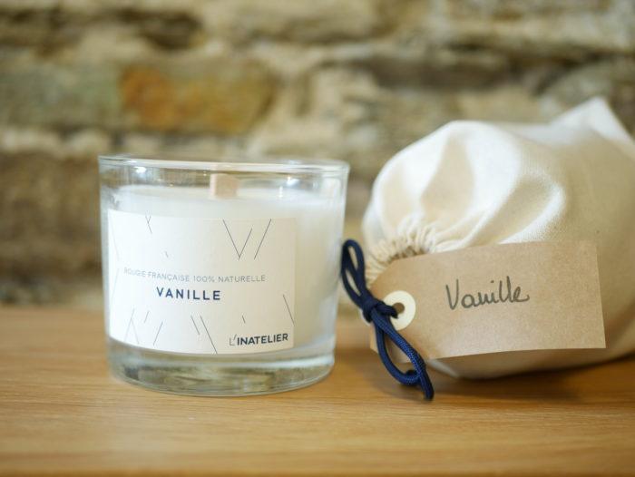 bougie parfumée 100% naturelle à la cire de soja - parfum vanille -L'INATELIER nantes