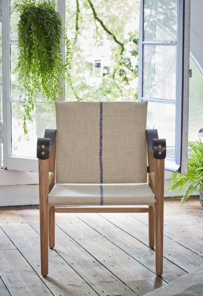 Fauteuil en bois cuir et lin compact temps libre F1 L'INATELIER Nantes