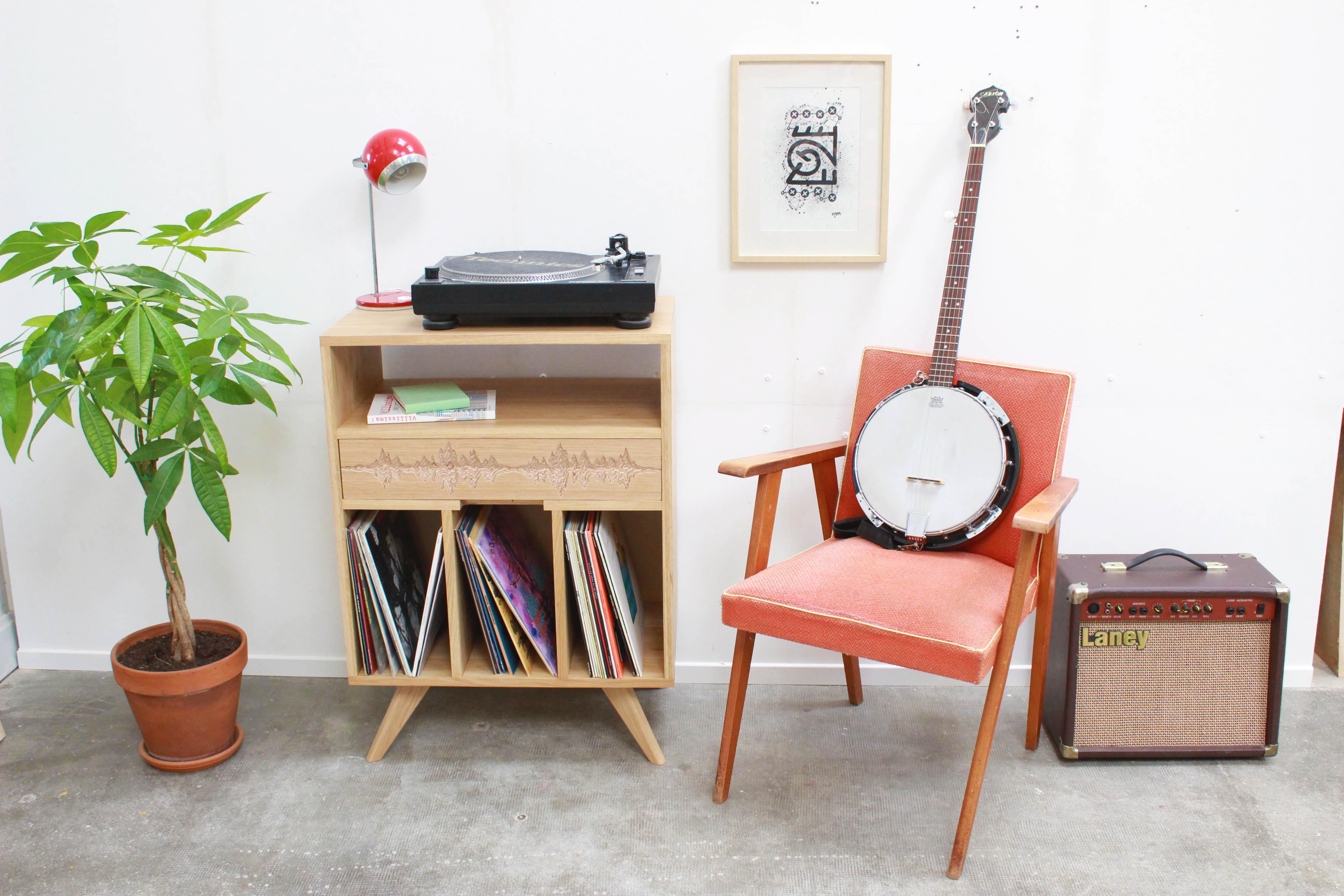 meuble pour platine vinyle l 39 inatelier design. Black Bedroom Furniture Sets. Home Design Ideas