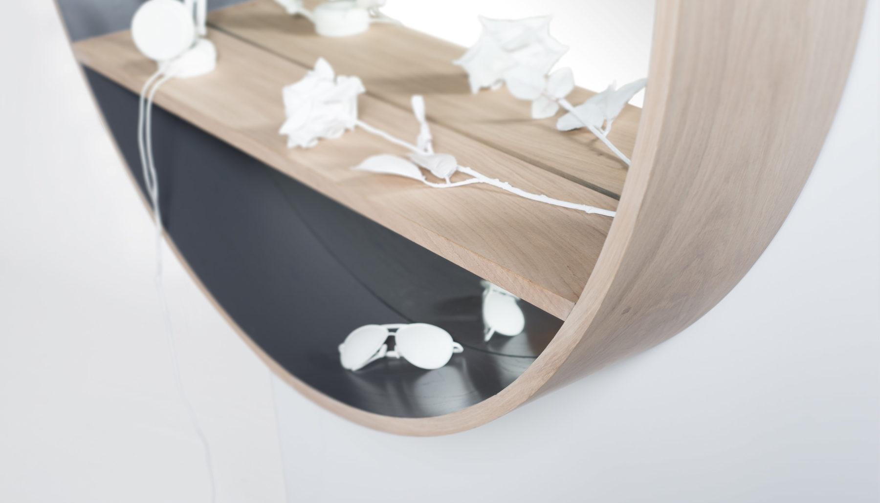 miroir-console Drugeot Manufacture L'INATELIER Nantes avec tablette intégrée- mirror diamètre125