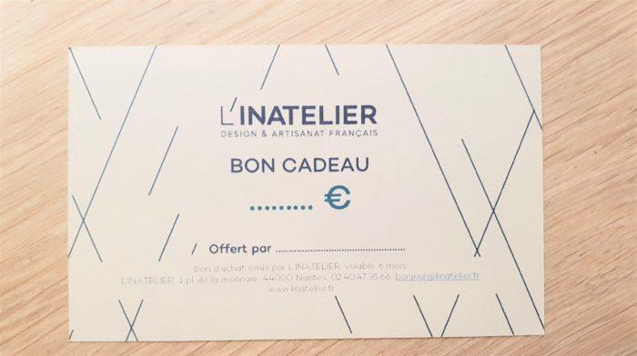 Carte cadeau design et artisanat français L'INATELIER NANTES avec montant au choix
