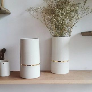 VASE PORCELAINE DE LIMOGES - Céramique blanc et or -Ambre Hervo LINATELIER Nantes