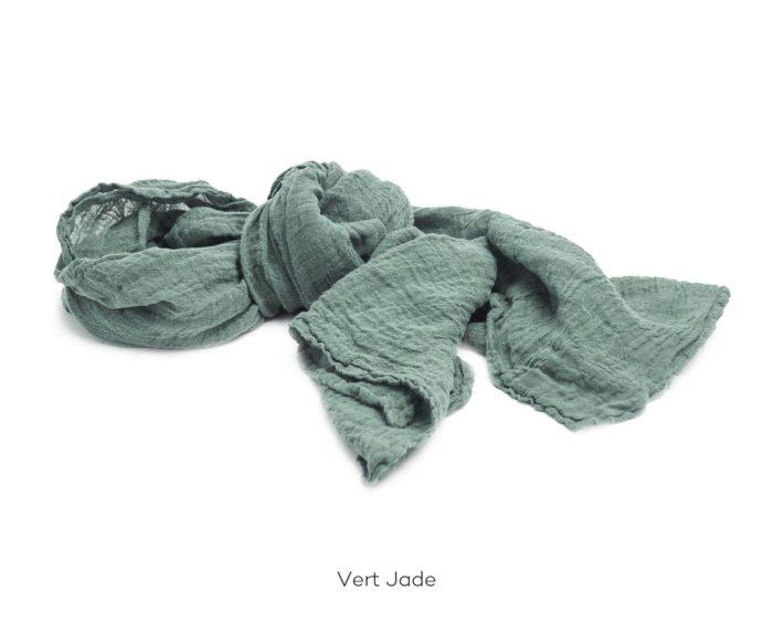 Chèche_Echarpe_scarf_couleur chanvre_Vert Jade_L'Inatelier_Nantes_mode homme_femme_textile