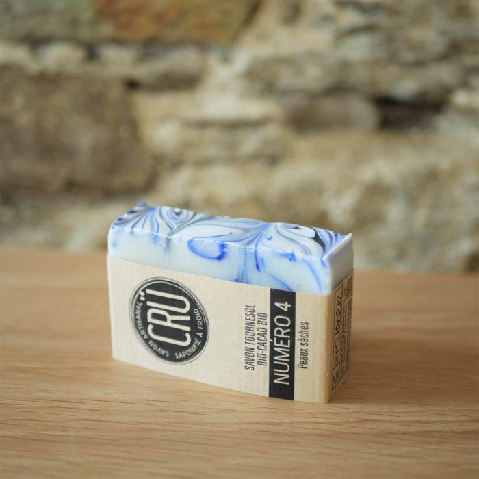 Savon beurre de cacao bio et huile de tournesol bio CRU numéro 4 écologique, éthique, artisanal et zéro déchet, tranche couché à l'INATELIER Nantes
