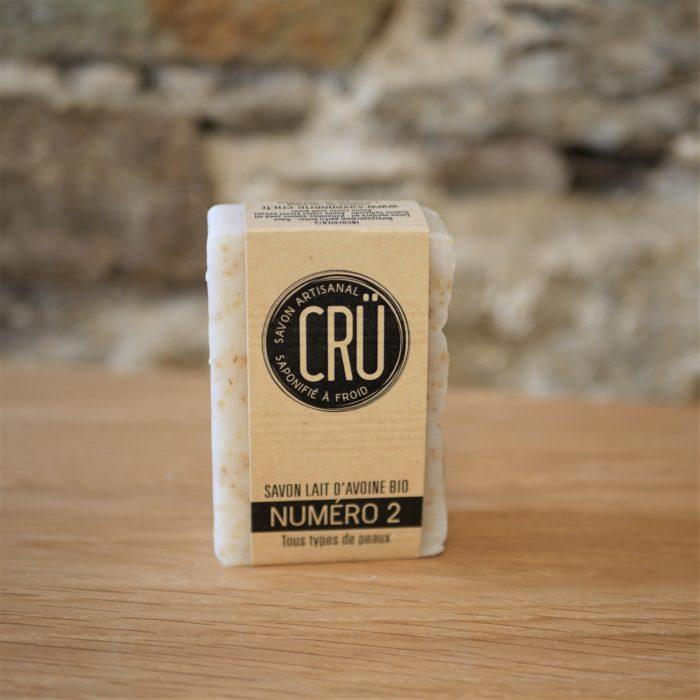 Savon au lait d'avoine bio numéro 2 écologique, éthique, artisanal et zéro déchet CRU vue de face à l'INATELIER Nantes