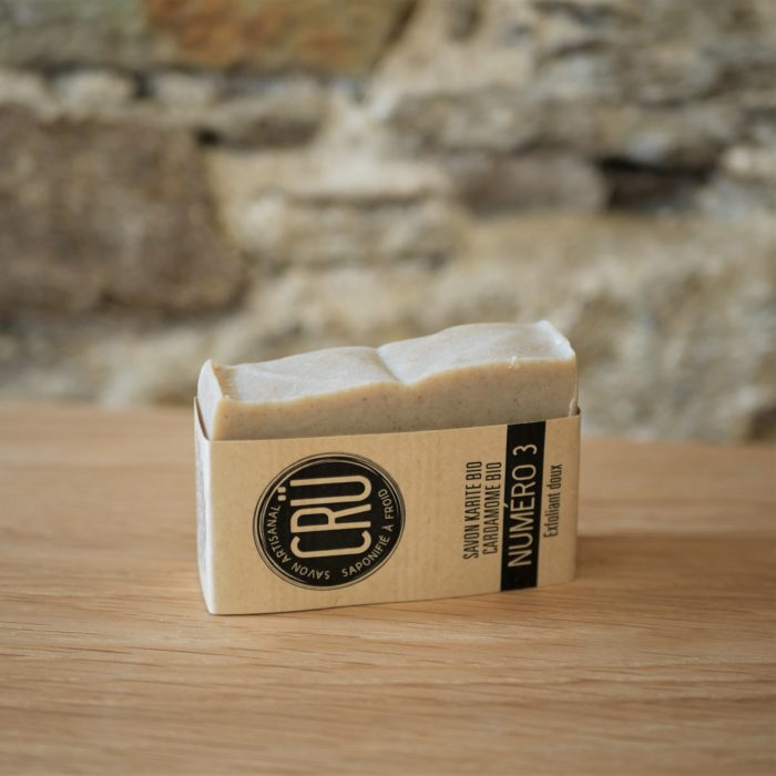 Savon beurre de karité bio et cardamome bio CRU numéro 3 écologique, éthique, artisanal et zéro déchet, tranche couché à l'INATELIER Nantes