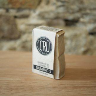 Savon beurre de karité bio et cardamome bio CRU numéro 3 écologique, éthique, artisanal et zéro déchet, vue de face à l'INATELIER Nantes