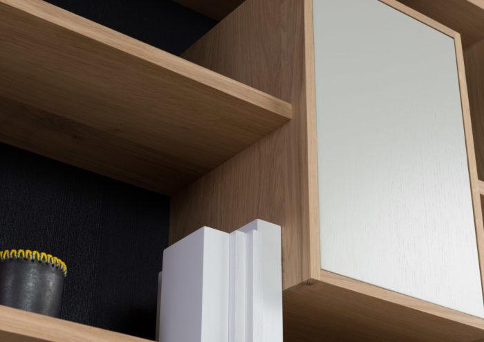 bibliothèque mixage 100 en chene massif Drugeot manufacture L'INATELIER détail rangement étagère et case fermée 1 - bookcase-4