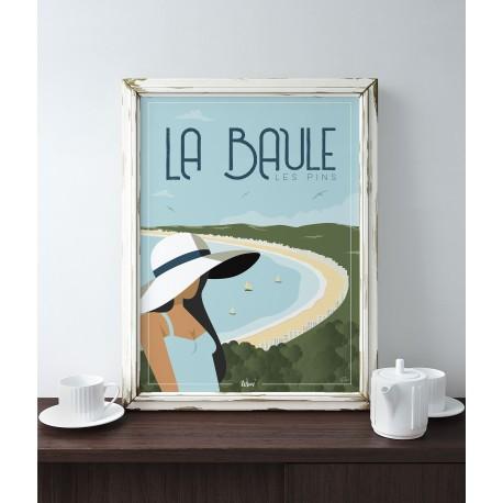 affiche-la-baule-les-pins_L'inatelier_Nantes_Wim_edition limitée_affiche vintage