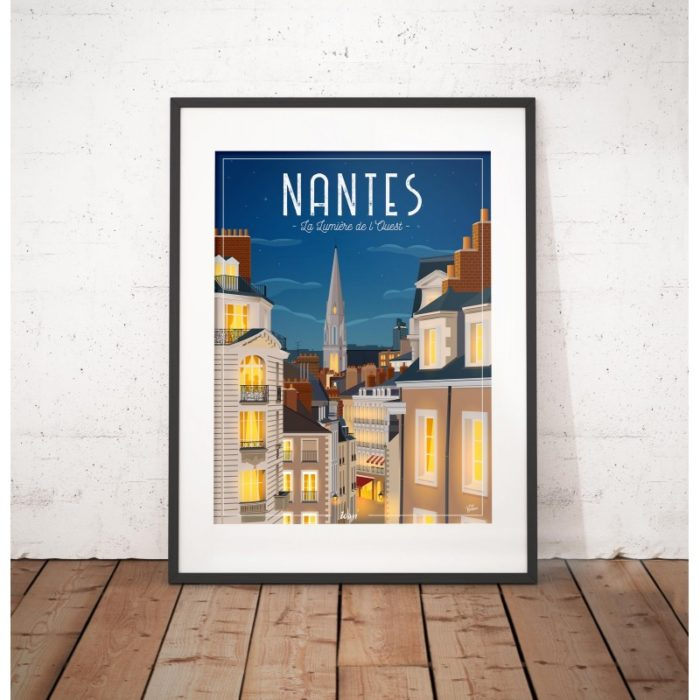 affiche-nantes-NUIT - La lumière de l'ouest - WIM - L'inatelier Nantes - tirage limité