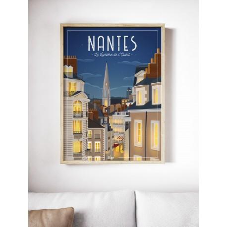 affiche-nantes-NUIT - La lumière de l'ouest - WIM - L'inatelier Nantes - tirage limité en situation