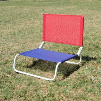 Chaise de plage la chaise française bleu et rouge_ L'Inatelier Nantes Design et artisanat francais en situation