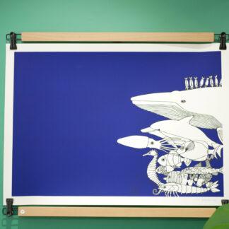 porte affiche_poster pant_Dezzig_support pour sérigraphie et affiche_déco_nantes_L'INATELIER_cadre_bois de hêtre et métal