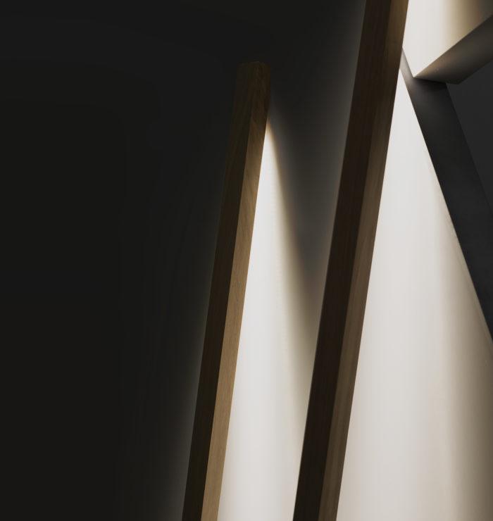lampadaire nomade volige_drugeot manufacture_LInatelier_nantes_luminaire_lampe_chene massif_fabrication artisanale_ led_lumière indirecte_design_ artisanat contemporain_ anjou_made in france_bois_lumière indirecte_allumée_détail