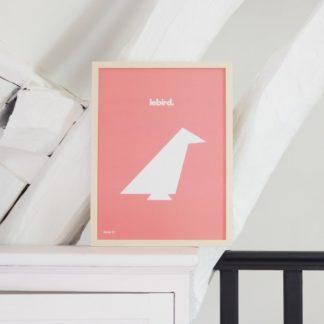 Affiche Lebird_ByPan_Oiseau blanc_fond rose_Pierre Baryga_imprimé en France_ Recyclé_décoration_L'Inatelier_Nantes_Boutique déco_poster_cadre_enfant_bébé
