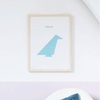 Affiche Lebird_ByPan_Oiseau bleu_fond blanc_Pierre Baryga_imprimé en France_ Recyclé_décoration_L'Inatelier_Nantes_Boutique déco_poster_cadre