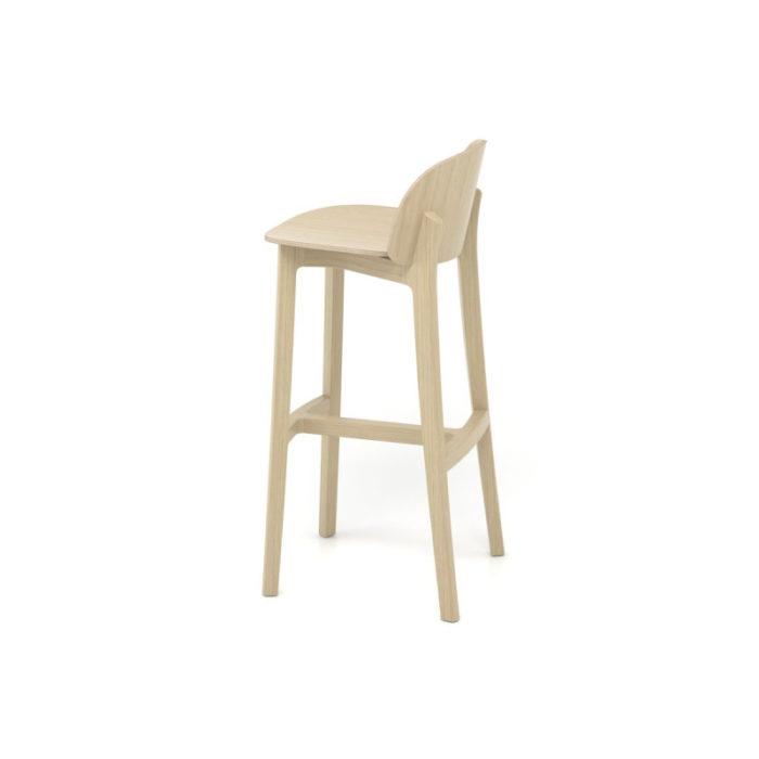 chaise-de-bar-lanas-BOSC-les landes-L'INATELIER- fabrication française-ebenisterie-savoir faire-chêne-bois-tapissé-tabouret-chaise haute-cuisine- décoration-made in france-nantes-déco-dos-finition