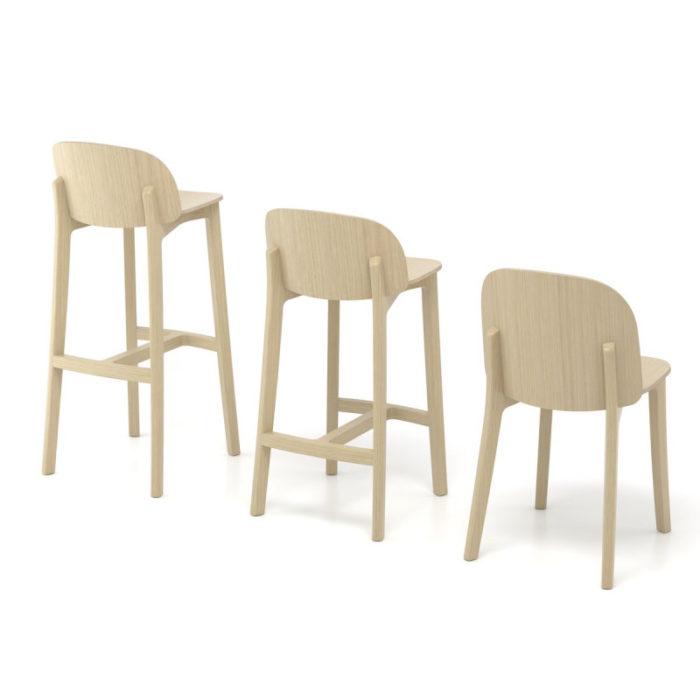 chaise-de-bar-lanas-BOSC-les landes-L'INATELIER- fabrication française-ebenisterie-savoir faire-chêne-bois-tapissé-tabouret-chaise haute-cuisine- décoration-made in france-nantes-déco-chaise de table- salle à manger-meuble-mobilier
