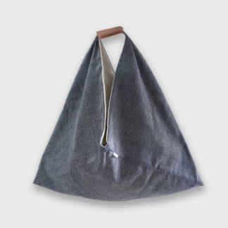sac origami- Heloise Levieux- Motifs japonais point - coton - L'Inatelier - Nantes - déco - tissu - sac-à-main - création française -made in france- anse cuir