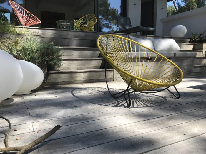 Fauteuil_bain de soleil_transat_ Acapulco exterieur polyvinyl_pvc_ terrasse_boqa_L'Inatelier_couleurs_été_jardin_design_mobilier exterieur_nantes_jardin_design_jaune