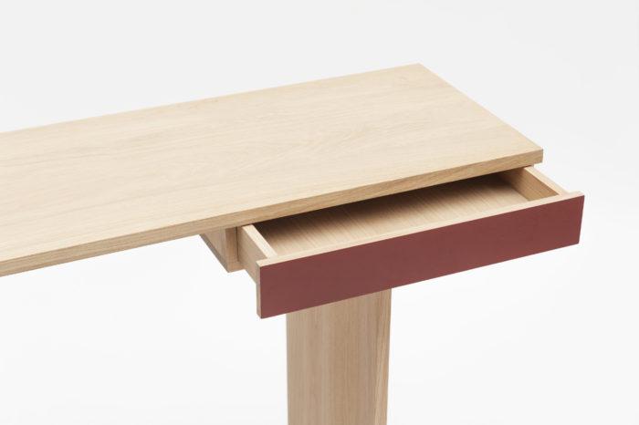 console ti en chêne_drugeot manufacture_bois_design_meuble_bureau_couloir_nantes_lInatelier_boutique déco_décoration intérieure_madeinfrance_personnalisable_zoom tiroir