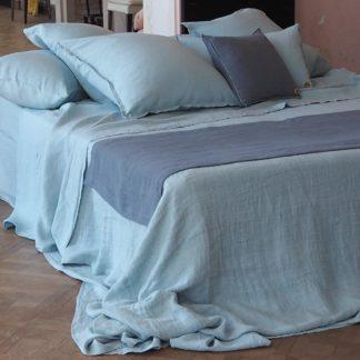 drap plat chanvre_couleur chanvre_parure bleu_L'Inatelier_linge de lit_maison_déco_naturel_bio_teinture biologique
