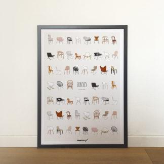 Affiche_chaise_design_icone_memory_jeu de mémoire_50x70_imprimé en France_Papier recyclé_décoration_L'Inatelier_Nantes_cuisine