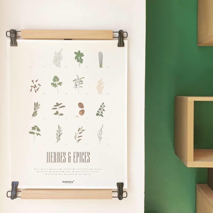 Affiche_herbes et epices_ goût_40x50_imprimé en France_Papier recyclé_décoration_L'Inatelier_Nantes_cuisine_rétro_vintage