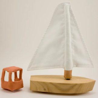 Le vogueur - mialon mialon - jouet - enfent - linatelier - made in france - Nantes - bateau - bois - tissus