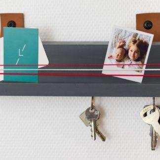 Porte clés mural béton et cuir aimanté