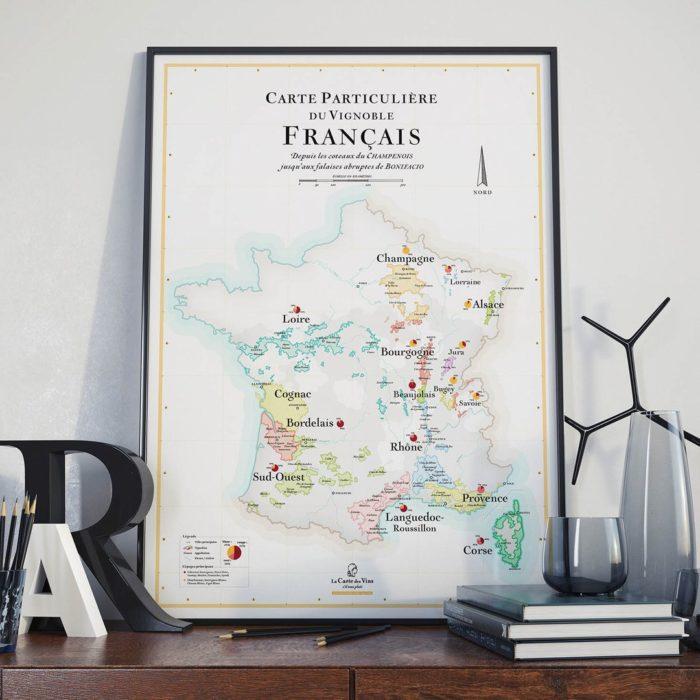 Affiche_carte-vins-france_Régions viticoles_vignobles_map_décoration_poster_nantes_L'Inatelier_50x70_oenologie