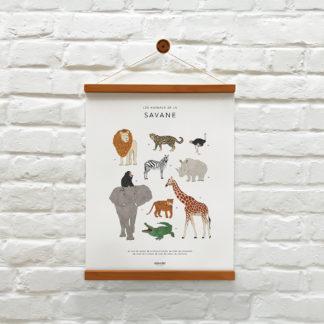 memoryAffiches_animaux_SAVANE_enfant_chambre_jeux_ludique_madeinfrance_nantes_L'Inatelier_poster_dessin_girafe_elephant_tigre_zebre40x50cm