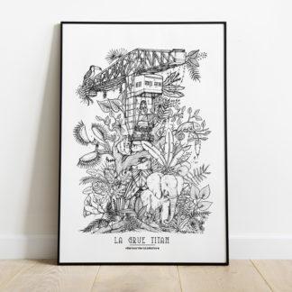 affiche-la-grue-titan-grue-jaune-Geoffrey Berniolle_illustration_ studio mâtcha - nantes - linatelier - A3_poster_cadre_décoration_murale_intérieur-noir-et-blanc