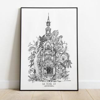 affiche tour LU -Geoffrey Berniolle_illustration_ studio mâtcha - nantes - linatelier - A3_poster_cadre_décoration_mur_intérieur