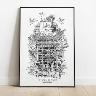 affiche tour de bretagne -Geoffrey Berniolle_illustration_ studio mâtcha - nantes - linatelier - A3_poster_cadre_décoration_mur_intérieur