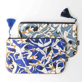 Pochette-tissu-Héloïse Levieux-imprimé-impression française-textile-made-in-france-maquillage-trousse-l'inatelier-nantes-bretagne-coton-design-cadeaux-sac-rangement-style-mode-retro-déco