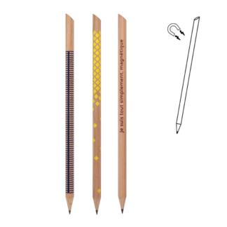 LOT de 3 crayons à papier_magnétique_bleu_jaune_bois_cèdre_malin_objet_design_aimant_cuisine_linatelier_madeinfrance