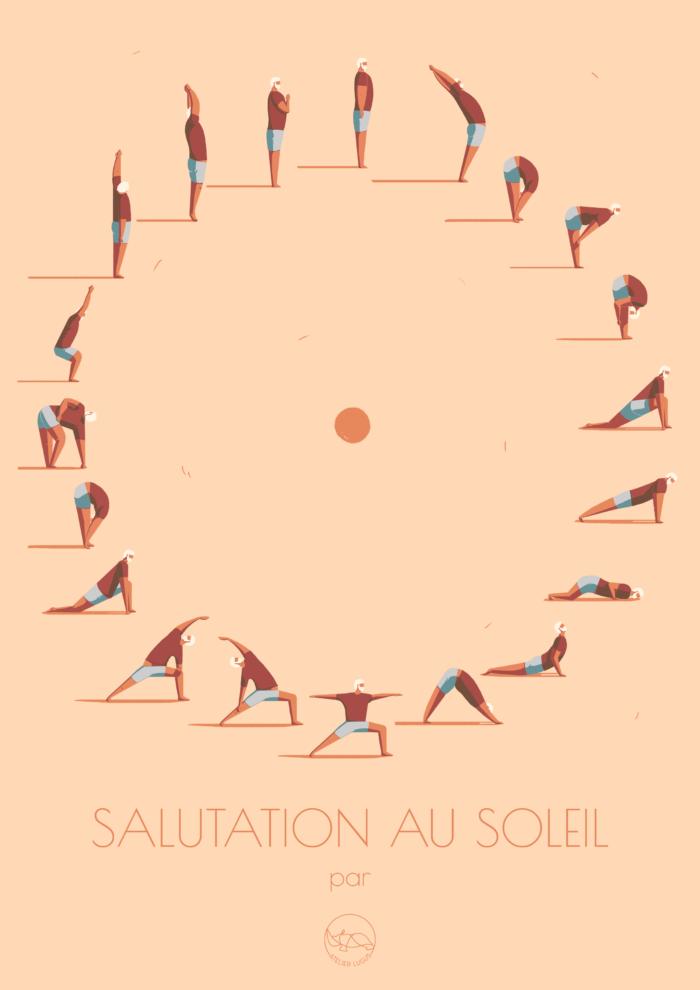 Affiche_salutation-au-soleil_illustration_atelier Lugus_yoga_méditation_décoration_nantes_L'Inatelier_déco_intérieur_30x40