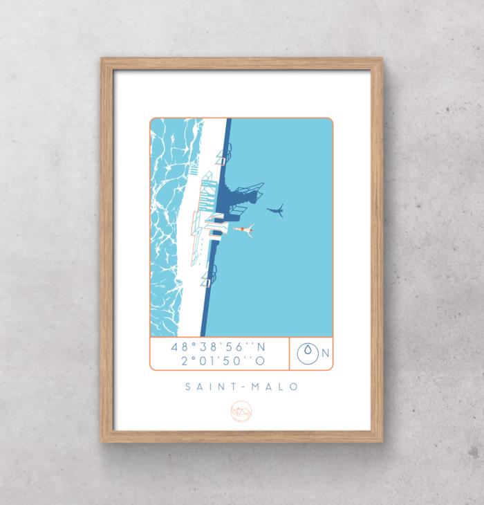Affiche-saint-malo_Atelier_Lugus_plongeoir_sérgraphie_série limitée_décoration_art_tableau_intérieur_nantes_made-in-france_bon-secours_cadre_idée-cadeau_géographie_gps_vue-du-ciel_mer