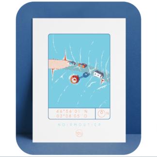 Affiche-Noirmoutier_Atelier_Lugus_plongeoir_sérgraphie_série limitée_décoration_art_tableau_intérieur_nantes_made-in-france_bon-secours_cadre_idée-cadeau_géographie_gps_vue-du-ciel