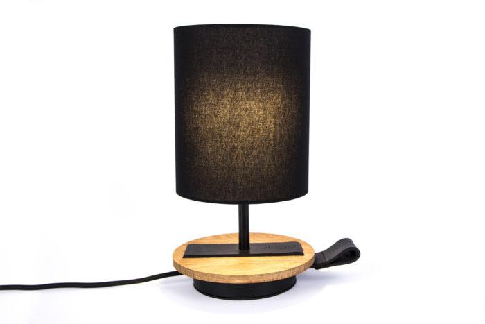 LAMPE-de chevet-CHANDELIER-NOIR-KNGB-creation-design-luminaire-made-in-france-artisanat-français-pièce-numérotée-bois-massif-cuir-coton-chambre-décoration-linatelier-nantes-boutique-décoration-intérieur-lumière-contemporain-écoresponsable-led-FAce-marron
